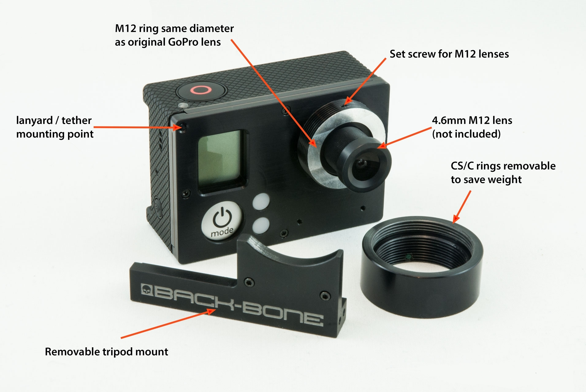 RibCage Back-Bone Lens Mount Mod Kit For Gopro Hero3 Hero3+ Plus