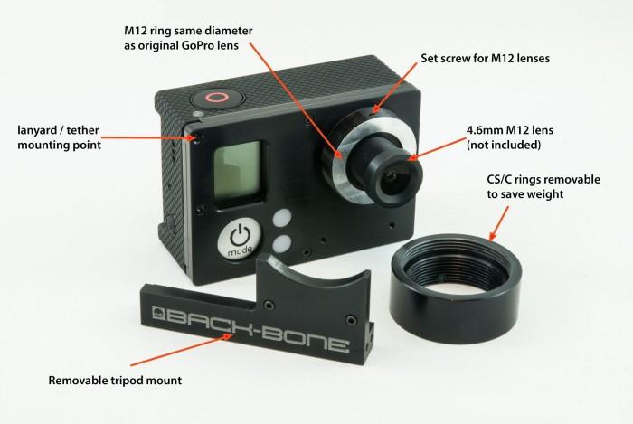 Ribcage Back Bone Lens Mount Mod Kit For Gopro Hero3 Hero3 Plus Sc Bbrc Stuntcams Stuntcams